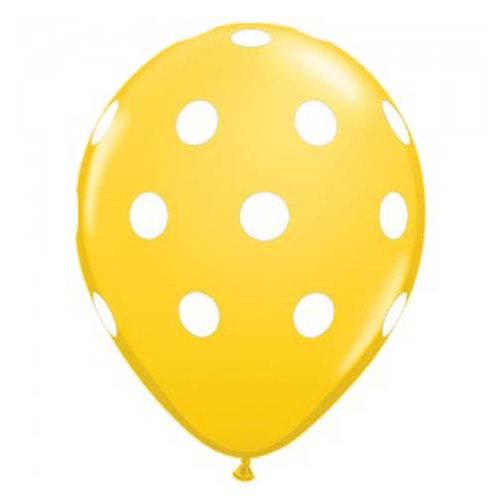 "11"" Lemon Yellow with White Polka Dots Pattern Latex Balloon"