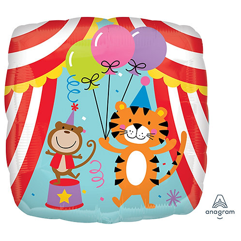 "18"" Square Shaped Circus Animals Helium Balloon - z26"