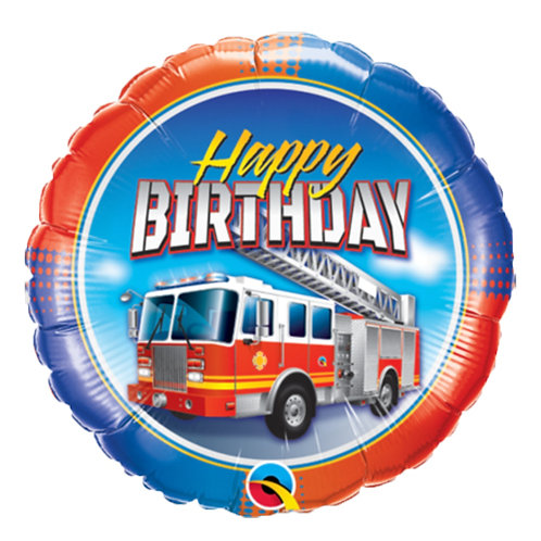 """18"""" Fire Truck Sky Background HBD Helium Balloon - y119"""