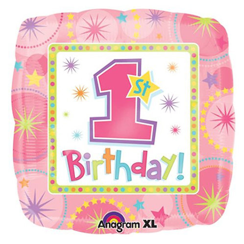 "18"" Square Shaped Girl 1st Birthday Helium Balloon - f02"
