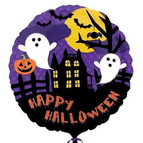 "18"" Haunted House & Ghosts Happy Halloween Helium Balloon - hw08"