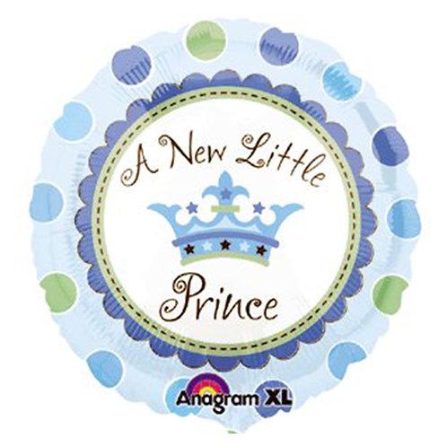 "18"" Baby Prince Crown Dots Pattern Helium Balloon - bb34"