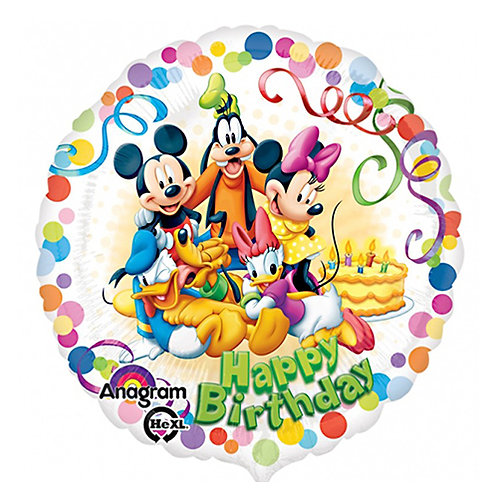 "18"" Mickey Mouse & Friends Dots Pattern HBD Helium Balloon - m15"