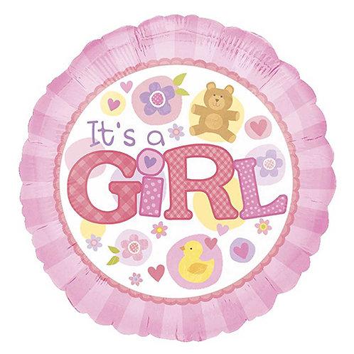 "18"" Baby Girl Bear & Duck Helium Balloon - bb11"