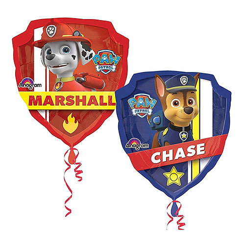 """40"""" Paw Patrol Chase & Marshall Badge Double Side Helium Balloon - y13"""