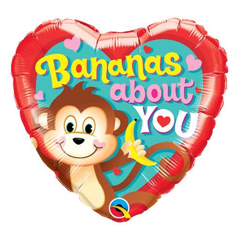 """18"""" Monkey Banana Heart Shape Helium Balloon - z68"""