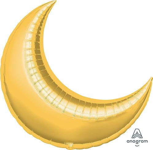 "35"" Crescent Shape Helium Balloon - Gold"
