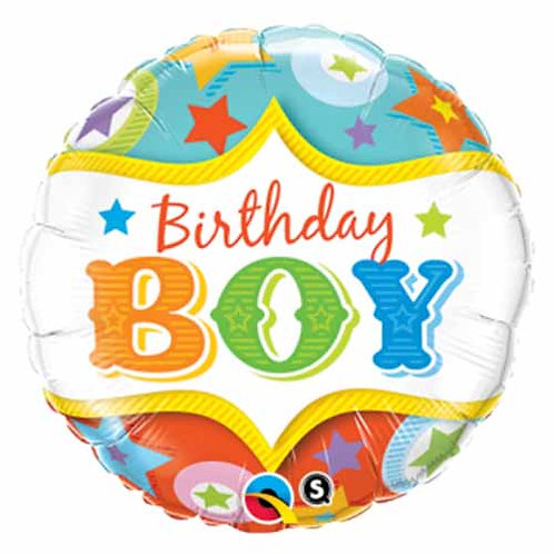 "18"" Star Pattern Birthday Boy Helium Balloon - hb56"