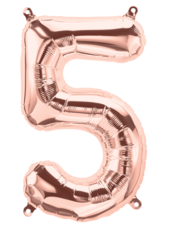 "16"" Rose Gold Number Balloon 5 - 16RG5"