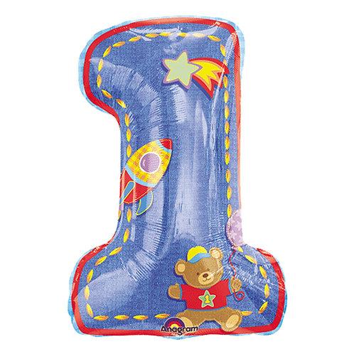 "28"" Rocket Boy 1st Birthday Helium Balloon - f12"