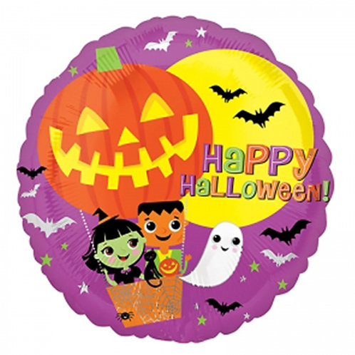 "18"" Pumplin Hot Air Balloon Happy Halloween Helium Balloon - hw23"