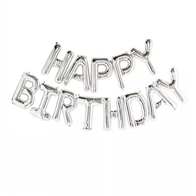 "14"" Silver HAPPY BIRTHDAY Letters Balloon - 14SHBD"