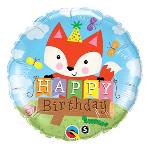 """18"""" Cute Fox HBD Helium Balloon - hb57"""