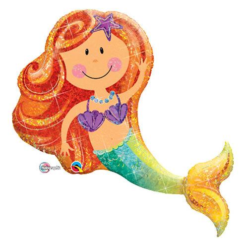 """40"""" Cute Mermaid Smiling Helium Balloon - y128"""