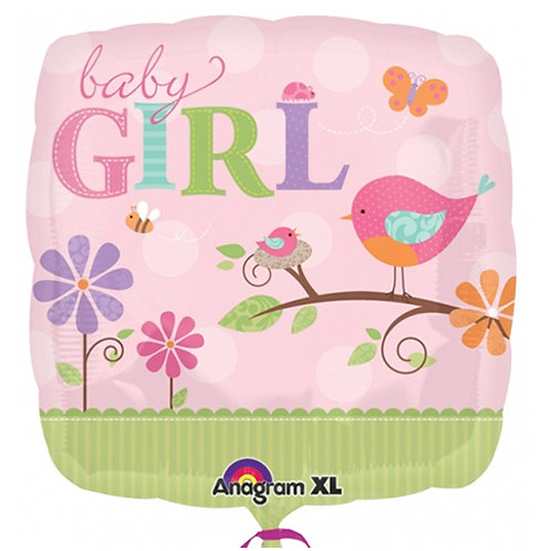 "18"" Baby Girl Bird Family Helium Balloon - bb48"