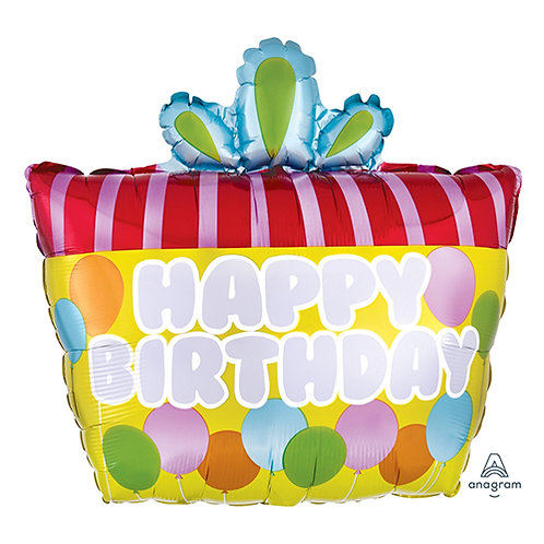 """24"""" Yellow Colour with Red Stripes Birthday Gift HBD Helium Balloon - hb42"""