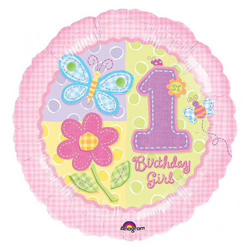 "18"" Butterfly & Flowers Girl 1st Birthday Helium Balloon - f33"