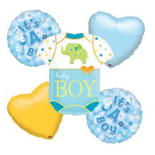 Baby Boy Theme with Baby Shirt Helium Balloon Bouquet - bq18