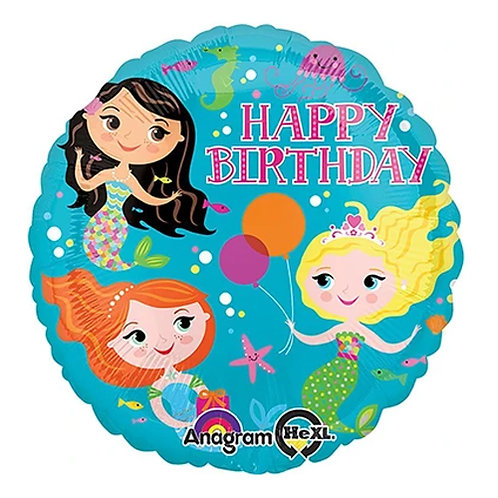"18"" 3 Mermaid Joining Party HBD Helium Balloon - y59"