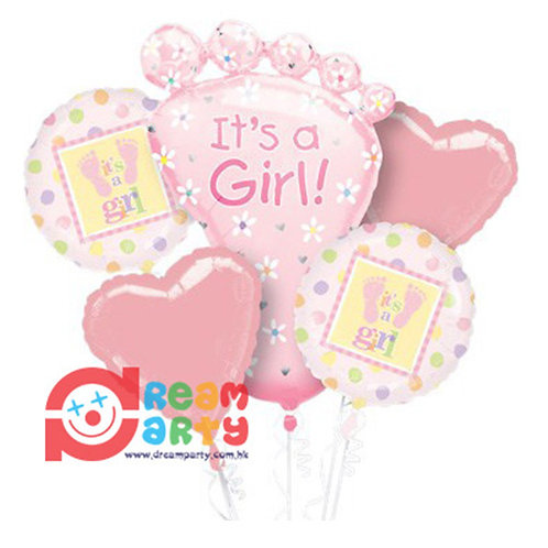 Baby Girl Theme with Baby Foot Helium Balloon Bouquet - bq04
