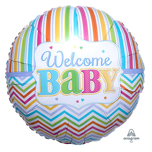"""18"""" Welcome Baby Stripes Pattern Helium Balloon - bb30"""