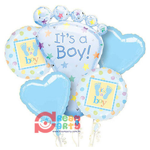 Baby Boy Theme with Baby Foot Helium Balloon Bouquet - bq03