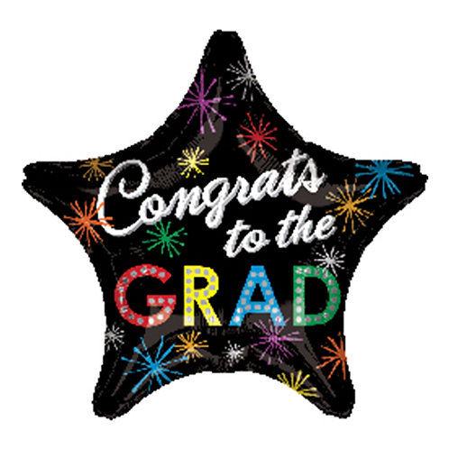 "18"" Star Shape Congrats Grad Helium Balloon - e18"