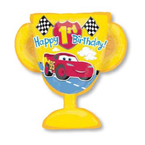 "30"" McQueen Trophy 1st HBD Helium Balloon - c01"