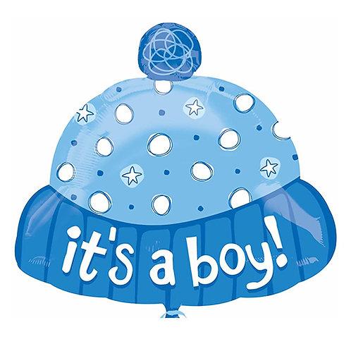 """18"""" Baby Boy Beanie Hat Helium Balloon - bb12"""