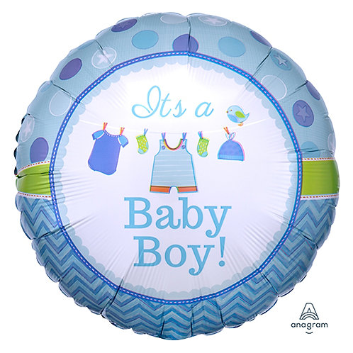 "18"" Baby Boy Baby Clothes Helium Balloon - bb45"
