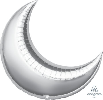 "26"" Crescent Shape Helium Balloon - Silver"