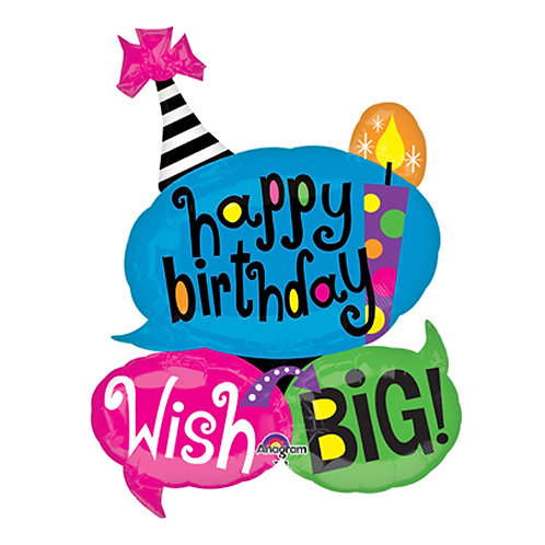"""40"""" 3 in 1 HBD Big Wishes Helium Balloon - hb25"""
