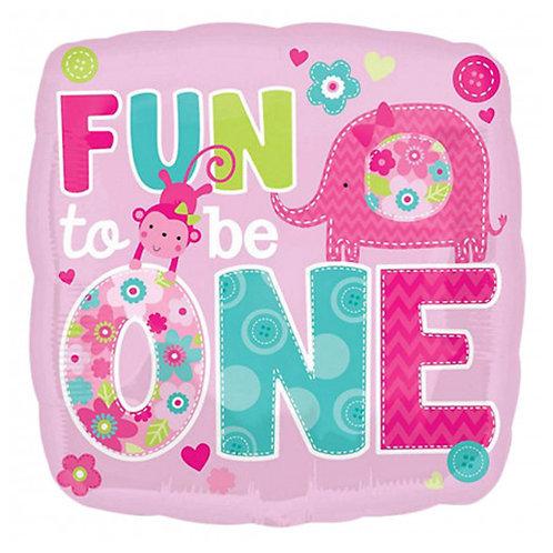 "18"" Animal Theme Girl 1st Birthday Helium Balloon - f04"