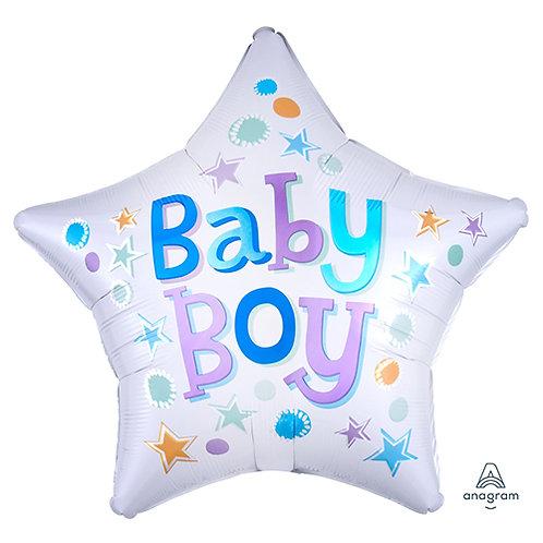 "18"" Baby Boy Star Shape Helium Balloon - bb44"