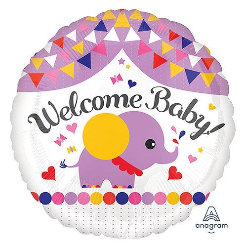 "18"" Baby Shower Purple Cute Elephant Helium Balloon - bb63"