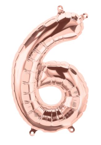 "16"" Rose Gold Number Balloon 6 - 16RG6"