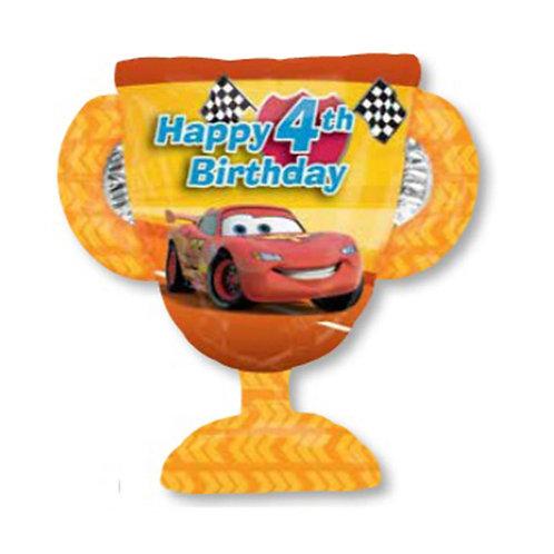 "30"" McQueen Trophy 4th HBD Helium Balloon - c03"