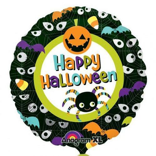 "18"" Pumpkin & Spider Happy Halloween Helium Balloon - hw02"
