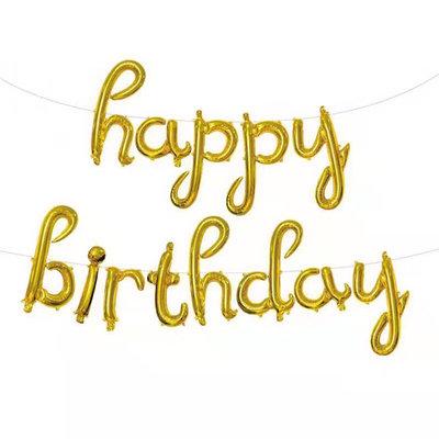 "14"" Gold Cursive HAPPY BIRTHDAY Letters Balloon - 14GCHBD"