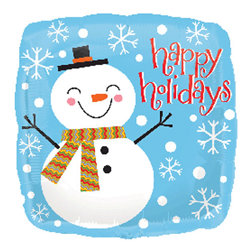 "18"" Square Shape Winter Snowman Happy Holidays Helium Balloon - x02"