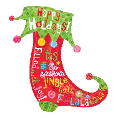 "30"" Clown Christmas Socks Happy Holidays Helium Balloon - x17"