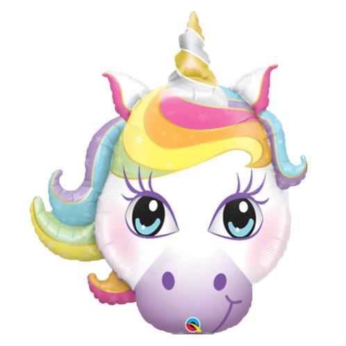 """30"""" Rainbow Colour Hair Unicorn Face Helium Balloon - z64"""