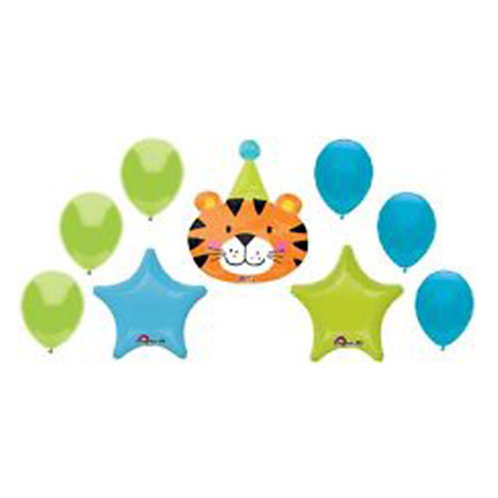 Cute Lion Head with 2 Stars and 6 Latex Helium Balloon Bouquet - bq11