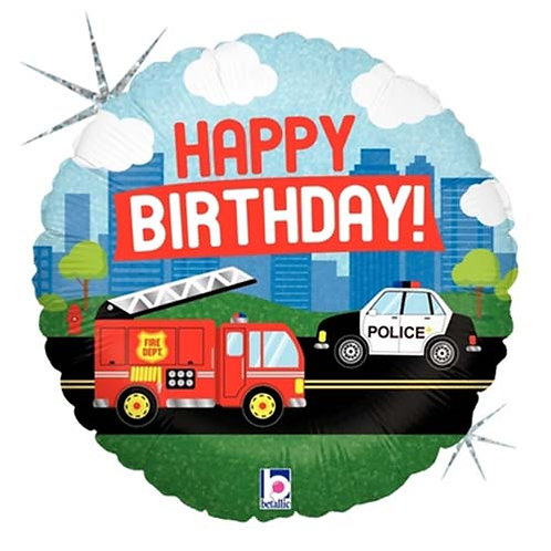 "18"" Fire Truck & Police Car HBD Helium Balloon - hb66"