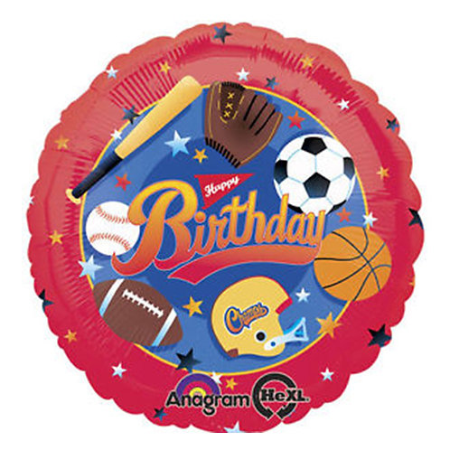 "18"" Sports Theme HBD Helium Balloon - hb46"