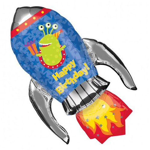 "40"" Aliens Rocket HBD Helium Balloon - hb41"