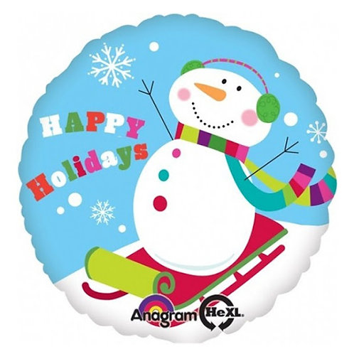 "18"" Snowman Snow Skiing Happy Holidays Helium Balloon - x03"