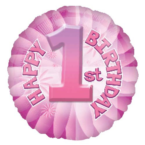 """18"""" 1st HBD Pink Colour Number Helium Balloon - num06"""