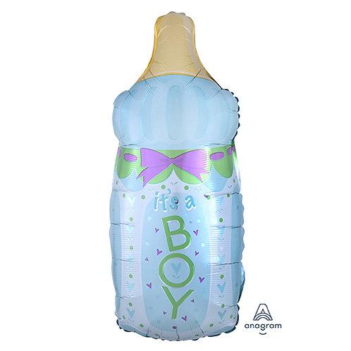 "30"" Baby Boy Milk Bottle Bow Helium Balloon - bb01"