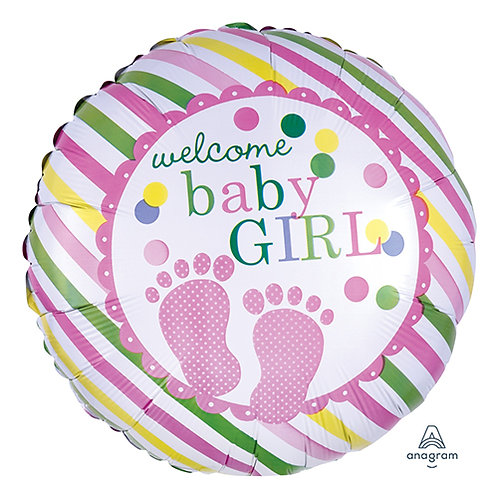 "18"" Baby Girl Footprint Helium Balloon - bb49"